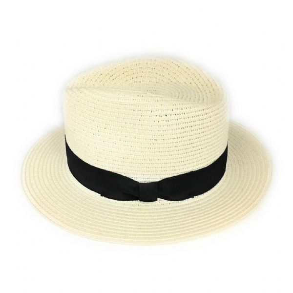 Straw Fedora Summer Hat - Cream
